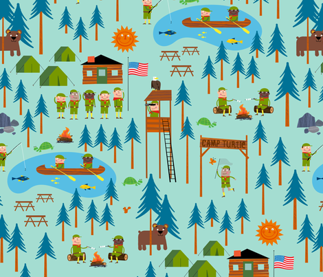 Camp Turtle fabric by edmillerdesign on Spoonflower - custom fabric