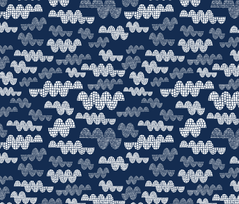Big Clouds - Indigo fabric by iheartlinen on Spoonflower - custom fabric