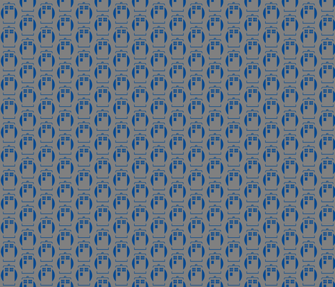 Tardis Blue on Grey fabric by knitmileofdoom on Spoonflower - custom fabric