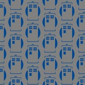 Tardis Blue on Grey