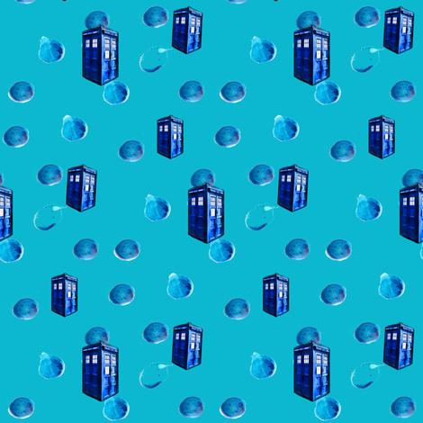 Doctor Who Inspired Painted Polka Dots &amp; Police Boxes fabric by bohobear on Spoonflower - custom fabric
