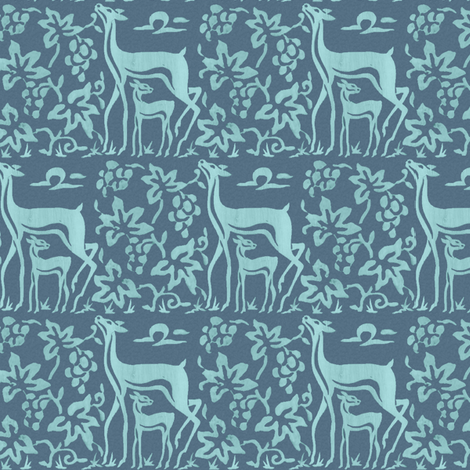 Arts & Crafts deer and grapes - seafoam on soft blue-grey