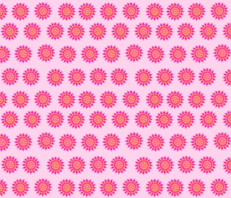Zig Zag Pet Party pink sunflowers fabric by bzbdesigner on Spoonflower - custom fabric
