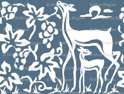 Arts & Crafts deer and grapes overlap - white on textured INDIGO206