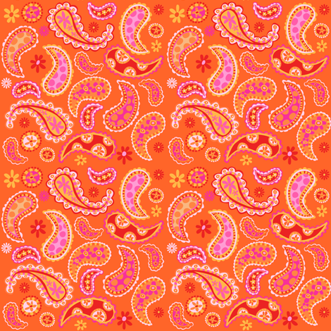 Zig Zag Pet Party paisley orange fabric by bzbdesigner on Spoonflower - custom fabric