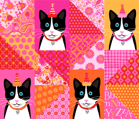 Zig Zag Kitty fabric by bzbdesigner on Spoonflower - custom fabric