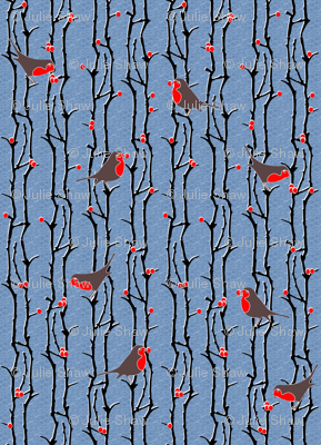 Robins in Branches - Denim