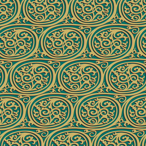 curlyswirl - teal and (almost) gold fabric by bippidiiboppidii on Spoonflower - custom fabric