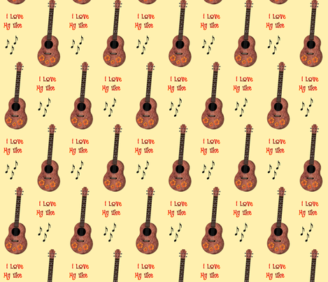 Uke Lover Yellow Background fabric by landofukeandhoney on Spoonflower - custom fabric