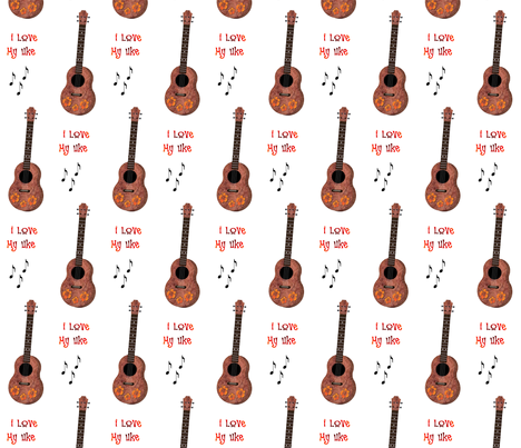 Uke Lover White Background fabric by landofukeandhoney on Spoonflower - custom fabric