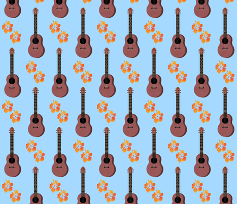 Hibiscus Uke Floral Blue Background