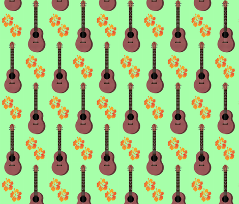 Hibiscus Uke Floral Green Background fabric by landofukeandhoney on Spoonflower - custom fabric