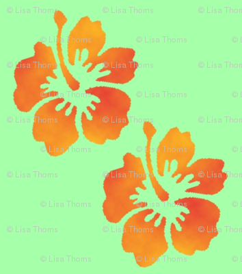 Coordinating Hibiscus Green Background
