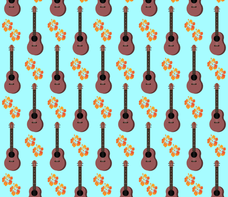 Hibiscus Uke Floral Turquoise Background fabric by landofukeandhoney on Spoonflower - custom fabric