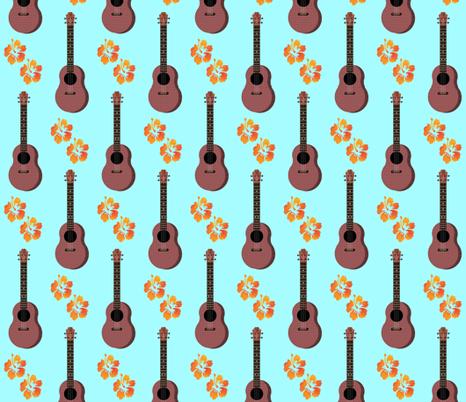 Hibiscus Uke Floral Turquoise Background fabric by landofukeandhoney on Spoonflower - custom fabric