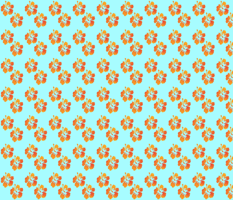 Coordinating Hibiscus Turquoise Background fabric by landofukeandhoney on Spoonflower - custom fabric