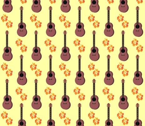 Hibiscus Uke Floral Yellow Background fabric by landofukeandhoney on Spoonflower - custom fabric