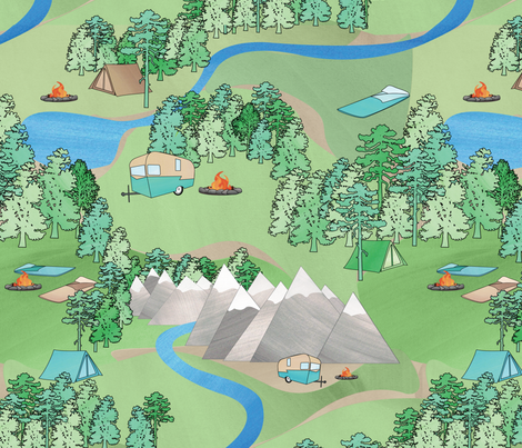 Camping in the Great Outdoors fabric by wildnotions on Spoonflower - custom fabric