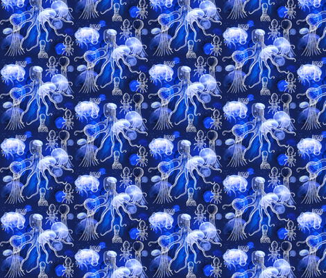 Jellyfish With Octopi fabric by jenithea on Spoonflower - custom fabric