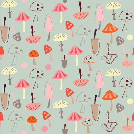 Mushroom Print fabric by redfish on Spoonflower - custom fabric