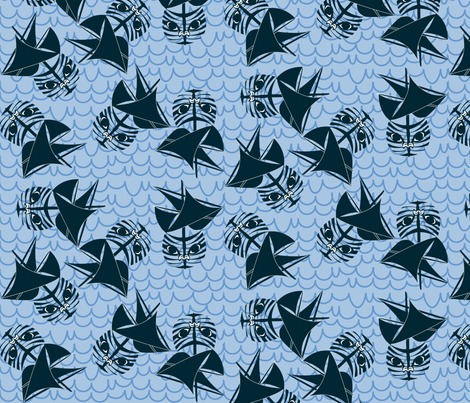 Cat Boat fabric by glimmericks on Spoonflower - custom fabric