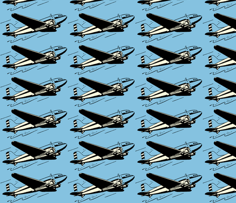 plane blue fabric by craftyscientists on Spoonflower - custom fabric