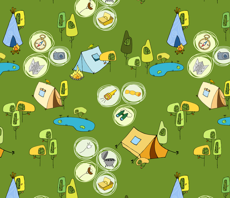 Camping fabric by padeshahoo on Spoonflower - custom fabric