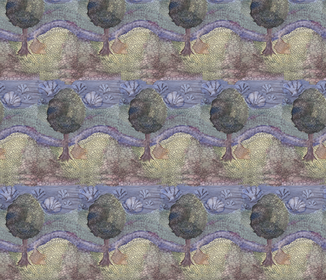 camping in watercolor fabric by zandloopster on Spoonflower - custom fabric