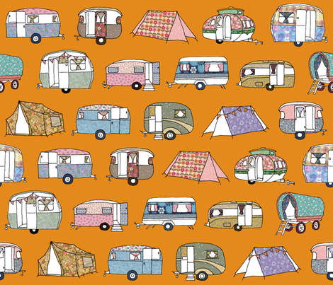 Vintage_Camping_FQorange fabric by peppermintpatty on Spoonflower - custom fabric