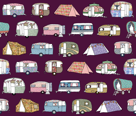 Vintage_Camping_FQgrape fabric by peppermintpatty on Spoonflower - custom fabric