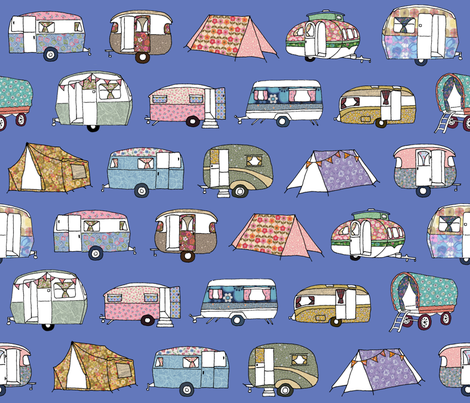 Vintage_Camping_FQblue fabric by peppermintpatty on Spoonflower - custom fabric