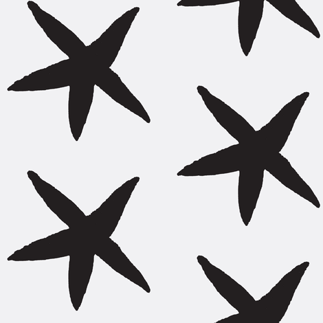 Starfish White and Black fabric by katie_schlomann on Spoonflower - custom fabric