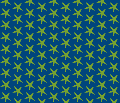 Starfish Cobalt Blue and Green fabric by katie_schlomann on Spoonflower - custom fabric