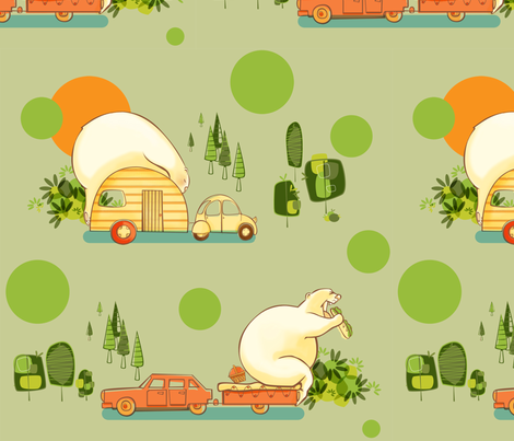 camping-Happy_Bears fabric by chris_aart on Spoonflower - custom fabric