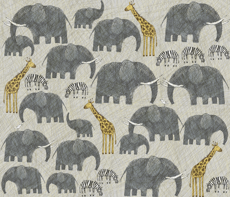 CAMPING IN AMBOSELI NATIONAL PARK IN KENYA fabric by bzbdesigner on Spoonflower - custom fabric