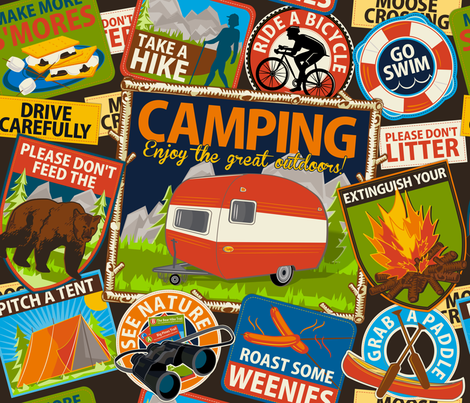 The Do's and Don'ts of Camping ~ Brown fabric by retrorudolphs on Spoonflower - custom fabric