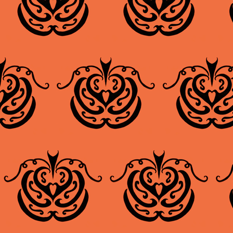 Tribal Pumpkin Patch (orange) fabric by ladyleigh on Spoonflower - custom fabric