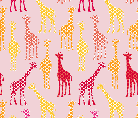UC2_Giraffes_orangeRev fabric by lauriewisbrun on Spoonflower - custom fabric