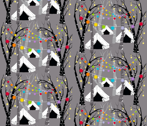 Camping in the Woods - Night fabric by uzumakijo on Spoonflower - custom fabric
