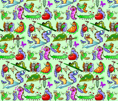 CRAZY CATERPILLARS fabric by bluevelvet on Spoonflower - custom fabric
