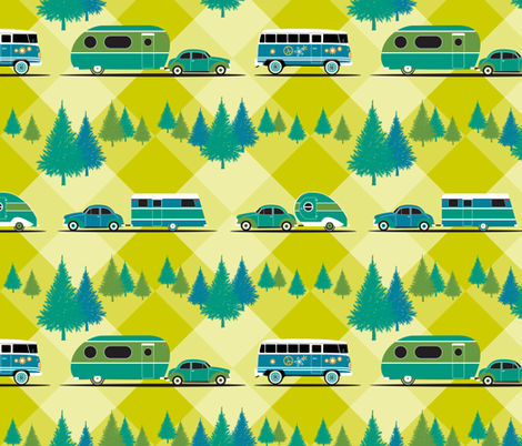 Retro road trip fabric by dzynchik on Spoonflower - custom fabric
