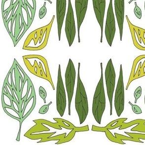 fallen leaves in green