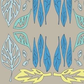 fallen leaves in blue