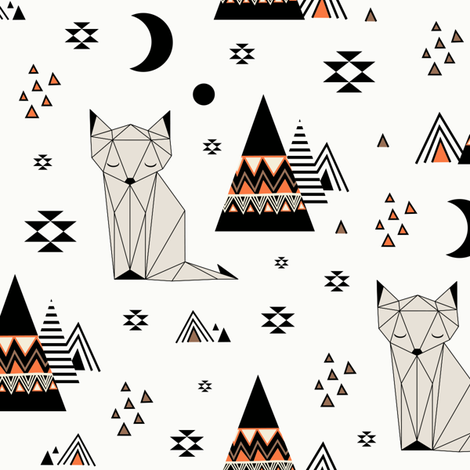 Distant Planet - Orange fabric by kimsa on Spoonflower - custom fabric