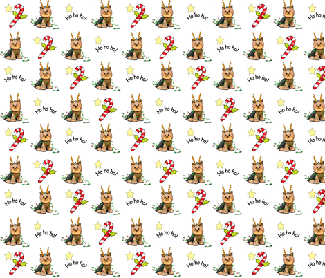 Yorkie Christmas fabric by catiacho on Spoonflower - custom fabric