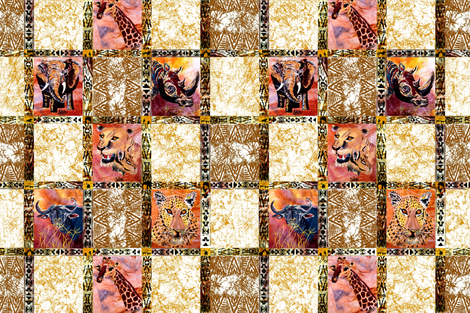 The_Big_6_African_Animals fabric by art_on_fabric on Spoonflower - custom fabric