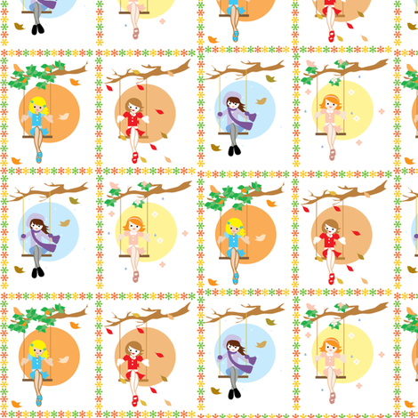 four-season-girls fabric by kiwicuties on Spoonflower - custom fabric