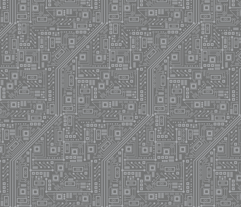 Robot Circuit Board (Gray) fabric by robyriker on Spoonflower - custom fabric