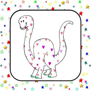 Sweet Brachiosaurus Hearts & Stars Quilt Block