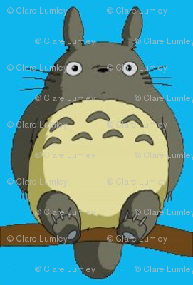 Totoro with blue background